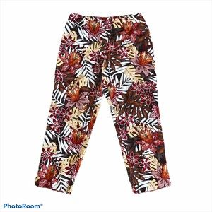 NWT Colette Mordo Silk Blend Red Floral Pants